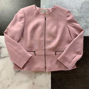 TAHARI Ponte Knit Zip Blazer Blush Lavender 16 EUC